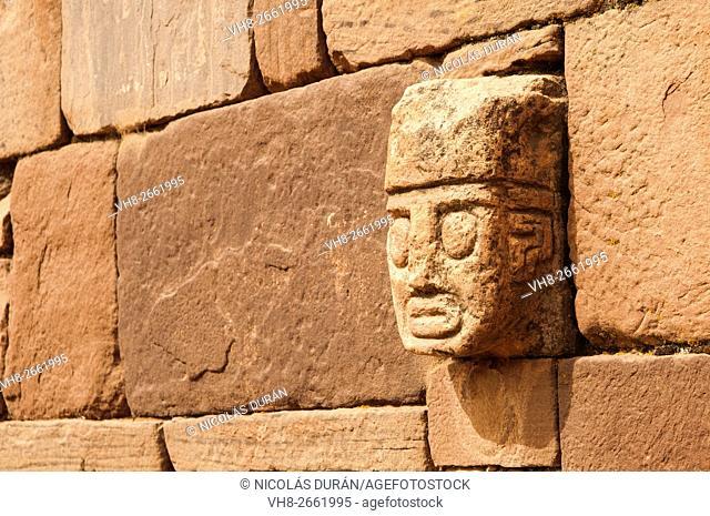 Tiahuanaco stone face. Tiahuanaco ruins. La Paz Department. Bolivia. South America