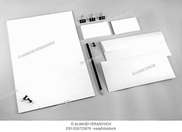 Blank stationery set with soft shadows on gray background.. ID template. Mockup for branding identity for designers