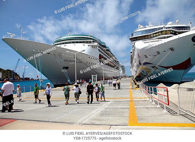 Cruises docked in the port of St Maarten, Caribbean