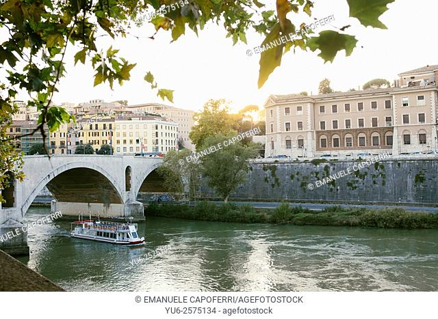 Along the Tiber at sunset, Rome, Italy