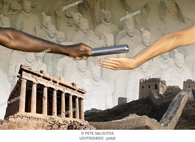 Composite image of athletes and greek ruins