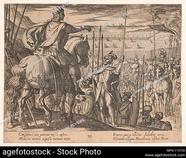 Plate 3: Alexander Instructing his Soliders, from The Deeds of Alexander the Great. Artist: Antonio Tempesta (Italian, Florence 1555-1630 Rome); Publisher:...
