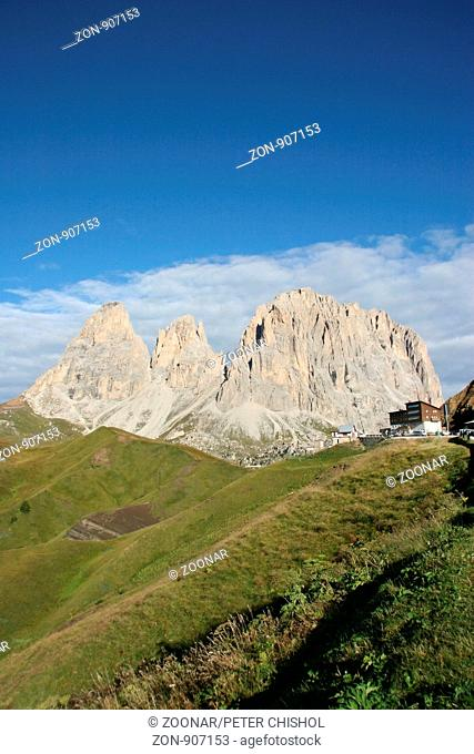 View of The Sassolungo Massif from Passo di Sella