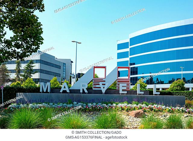 Signage with logo at the Silicon Valley headquarters of semiconductor company Marvell, Santa Clara, California, August 17, 2017
