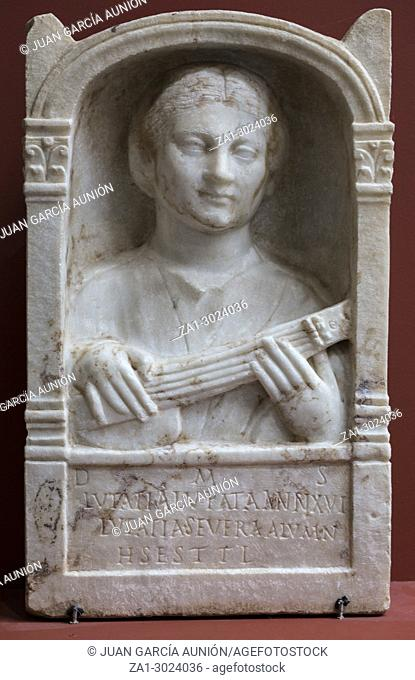 Merida, Spain: Musician woman stele at National Museum of Roman Art in Merida, Spain. Music at Imperial Rome concept