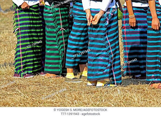 Tangsa tribes, women performing dance at Namdapha Eco Cultural Festival, Miao, Arunachal Pradesh, India