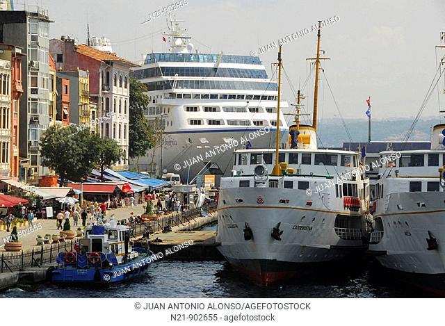 Ships at Karakoy Iskelesi , Istanbul, Turkey
