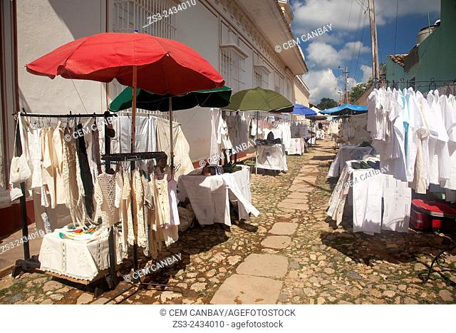 Art and Craft market near the main square Plaza Mayor, Trinidad, Sancti Spiritu Province, Cuba, West Indies, Central America