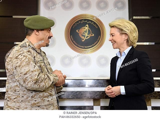 German Defence Minister Ursula von der Leyen (CDU) and IMCTC director general Abdulilah bin Othman Al-Salek visit the headquarters of the Islamic Military...