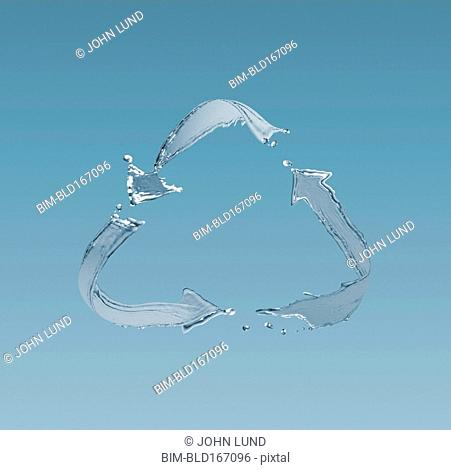 Splashing water in infinity symbol in blue sky