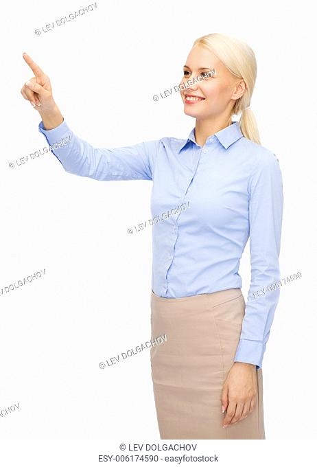 business and future technology concept - young businesswoman working with virtual screen