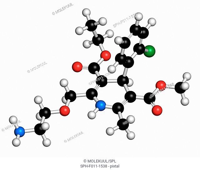 Amlodipine hypertension (high blood pressure) drug, chemical structure. Atoms are represented as spheres with conventional color coding: hydrogen (white)