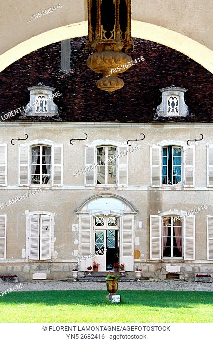 France, entrance of Chateau castle of Beru in Yonne departement in Burgundy known for it famous Chablis wine