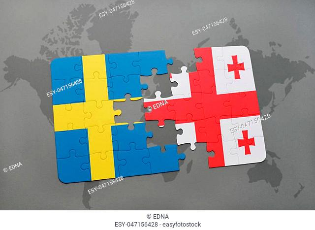 puzzle with the national flag of sweden and georgia on a world map background. 3D illustration