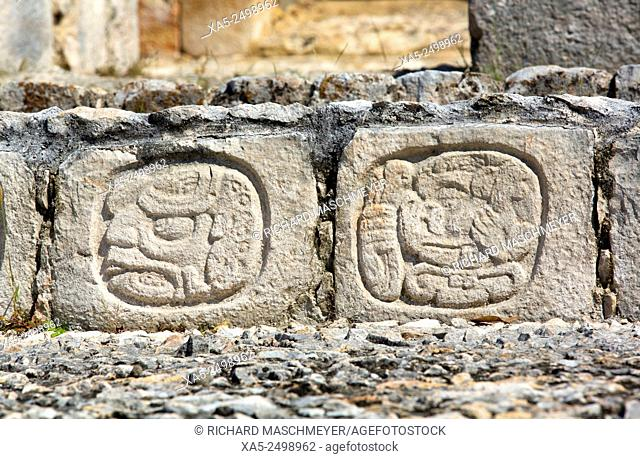 Stone Carved Hieroglyphs, Structure of Five Floors (Pisos), Edzna Mayan Archaeological Site, Campeche, Mexico