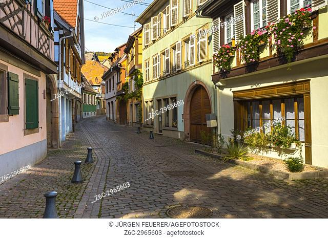 lane with old colorful houses in the village Barr, on the Wine Route of Alsace, France