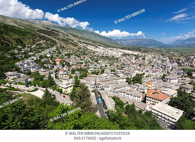 Albania, Gjirokastra, elevated town view from the castle