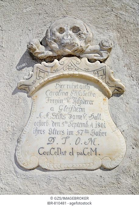 Tomb and tombstone in the Nikolauskirche, St. Nicholas Church, Hall, Tyrol, Austria