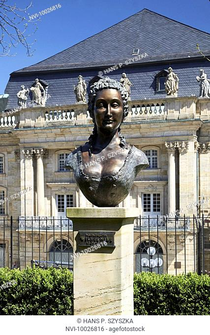 Bust of Margravine Wilhelmine at the Margravial Opera House, Bayreuth, Upper Franconia, Bayern, Germany