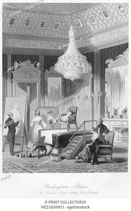 'Buckingham Palace. The Princess Royal sitting for a Portrait', c1841. Artist: William Radclyffe