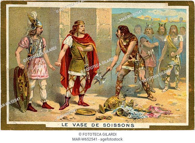 IL VASO DI SOISSONS episodio delle guerre barbariche in Francia: tra i beni saccheggiati dai soldati del re franco Clodoveo I (466-511) in una chiesa durante la...