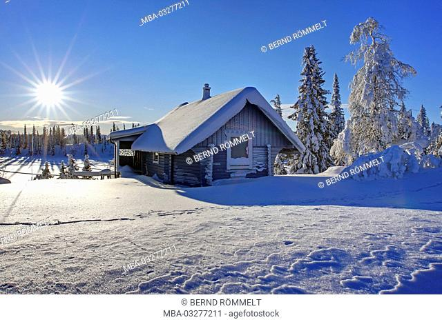Sweden, Swedish Lapland, Laponia, house, huts, winter, winter scenery