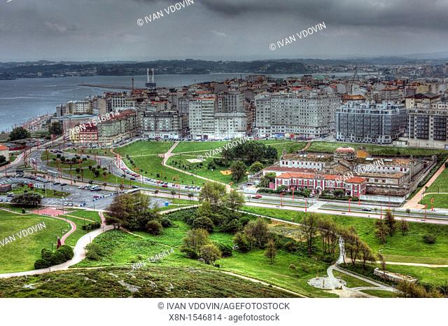 View of city from the Tower of Hercules, A Coruna, Galicia, Spain