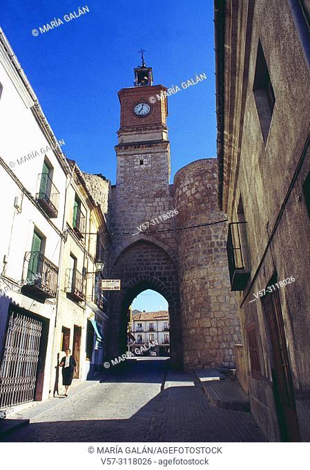 Street and medieval gate. Almazan, Soria province, Castilla Leon, Spain
