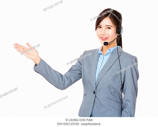 Customer services representative with hand showing blank sign