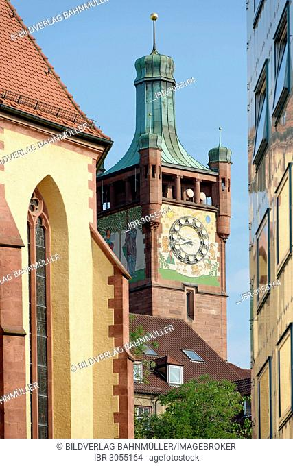 Bezirksamtsturm or District Office Tower, city centre, Pforzheim, Baden-Württemberg, Germany