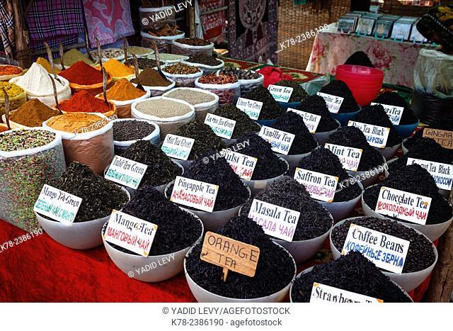 Spice and tea shop at the Wednesday Flea Market in Anjuna, Goa, India