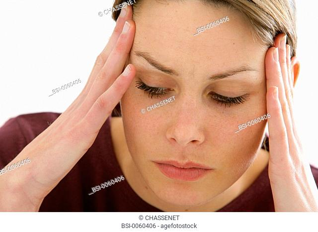 WOMAN WITH HEADACHE<BR>Model