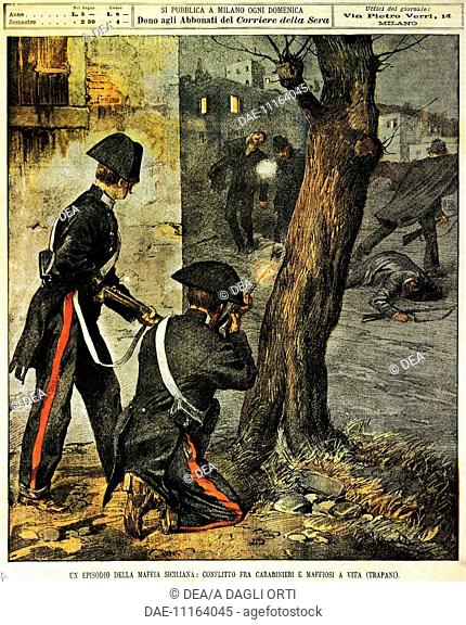 Sicilian mafia event: Fighting between the carabinieri and mafia gangsters in Trapani. Illustrator Achille Beltrame (1871-1945), from La Domenica del Corriere