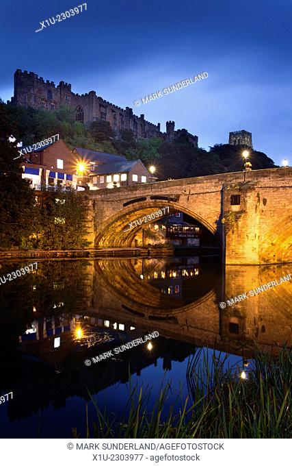 Durham Castle and Cathedral above Framwellgate Bridge at Dusk Durham County Durham England
