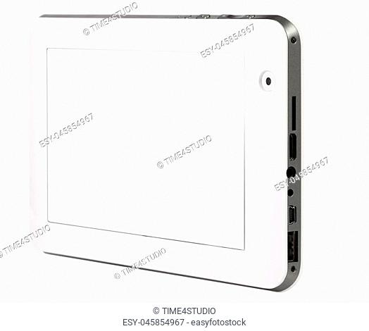 Tablet black on white background cutout isolated without screen side metal silver