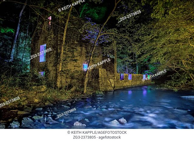 Light Painting and Night photography of John Blanchard's Mill ruins in Blanchard Springs Arkansas