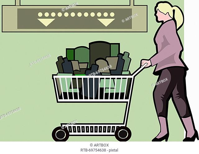 Woman pushing a cart in a grocery store