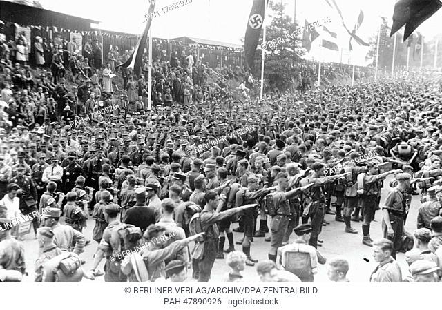 Nuremberg Rally 1933 in Nuremberg, Germany - Members of the SA (Sturmabteilung) and of the HJ (Hitler Youth) in front of the central train station