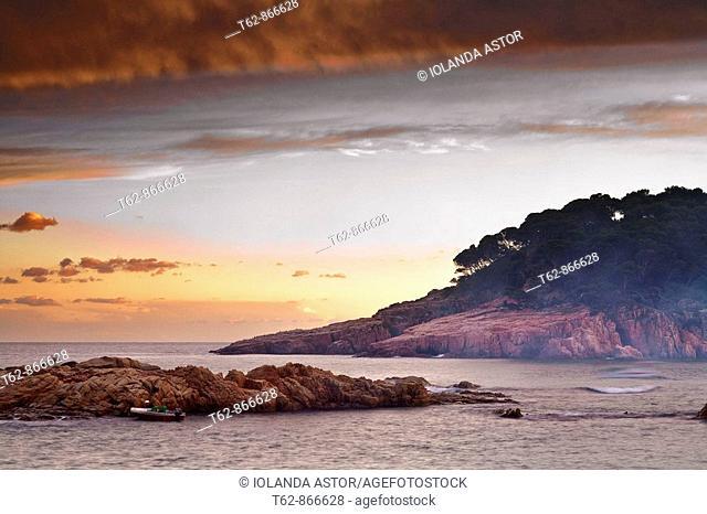 Winter sunset on the Costa Brava  Begur, Aiguablava, Catalonia, Spain