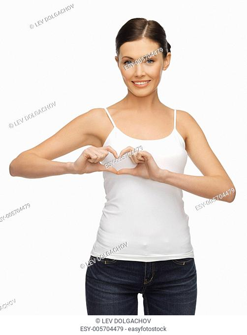 picture of woman in blank t-shirt forming heart shape