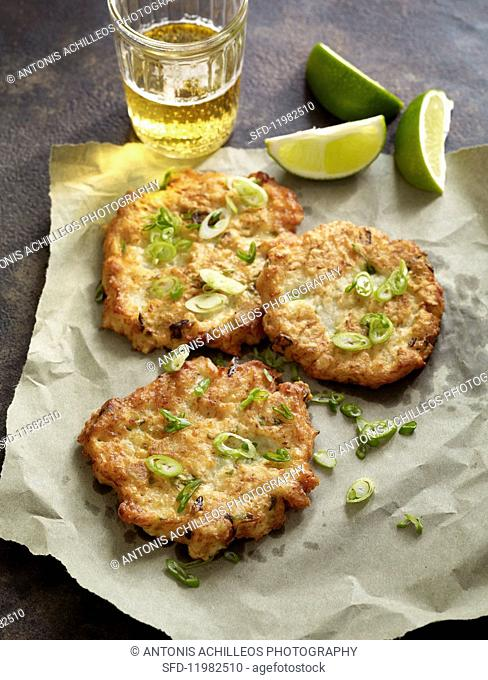 Yamaimo fritters with spring onions