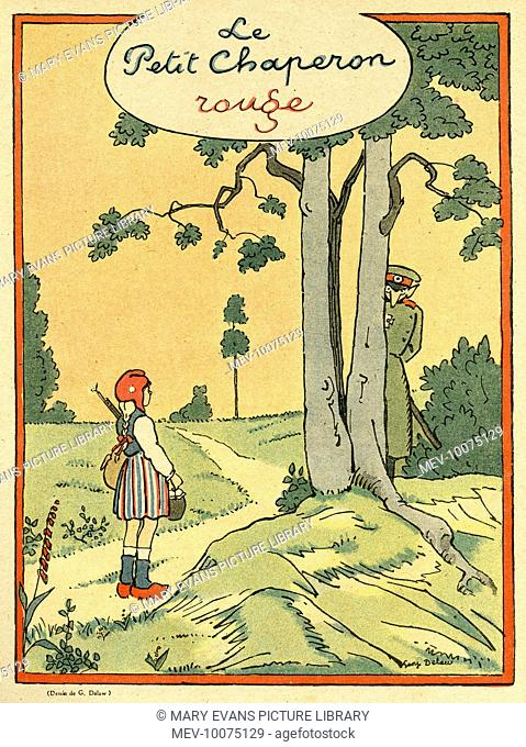 Cartoon, Little Red Riding Hood in a wartime version in which a little French girl encounter a German officer (wolf) hiding behind a tree