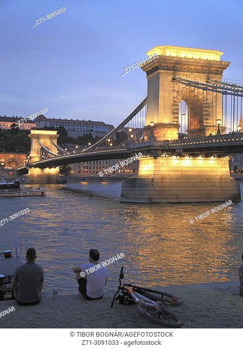Hungary, Budapest, Chain Bridge, Lánchíd, Danube River, people,