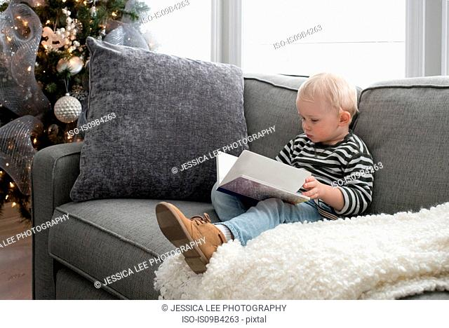 Young boy sitting on sofa, looking at book