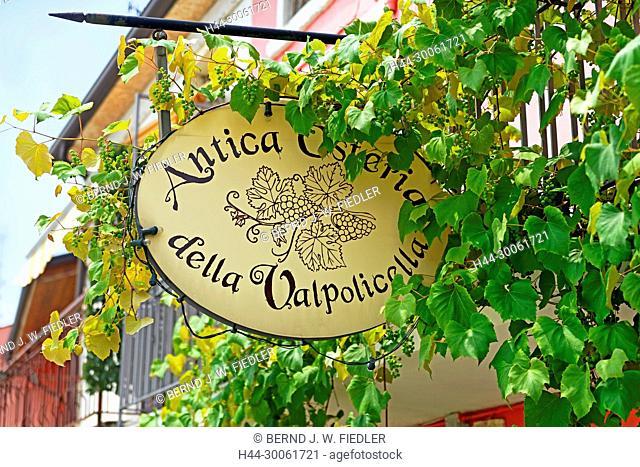 Europe, Italy, Veneto Veneto, San Rocco, via Longori, anti-approx. Osteria della Valpolicella, sign, detail, building, catering trade, restaurant