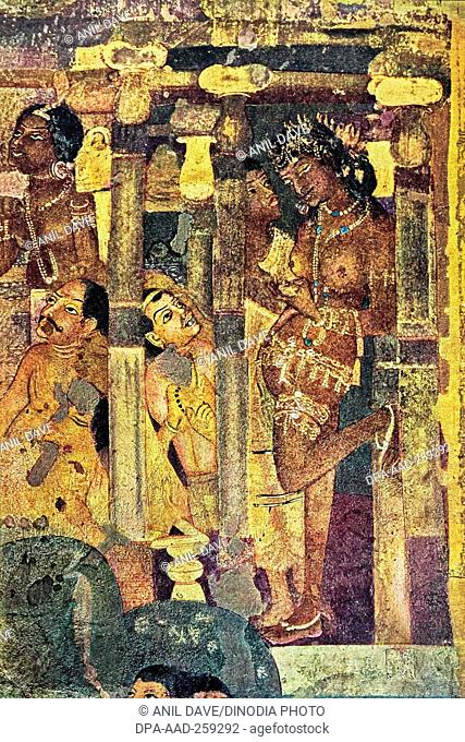 paintings ajanta caves, Aurangabad, Maharashtra, India, Asia