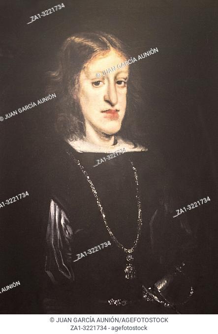 Charles II of Spain painted by Juan Carreno. Reproduction at Luis de Morales Museum, Badajoz, Spain, from Original play at Museo del Prado