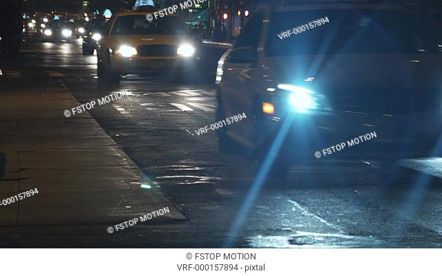 MS, Lockdown, Traffic on busy city street at night, Manhattan, New York, USA