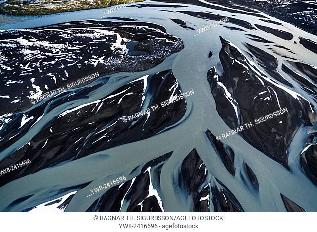 Aerial of view of area by Bardarbunga volcano, Dyngjujokull glacier, Iceland