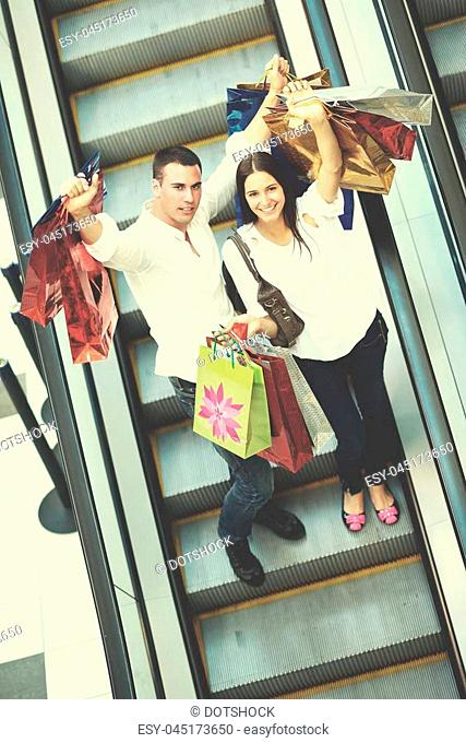 d838d1acf8 Young couple walking in mall Stock Photos and Images | age fotostock